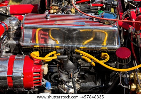 Powerful car engine - stock photo