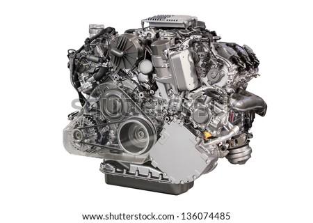 powerful car engine isolated on white - stock photo