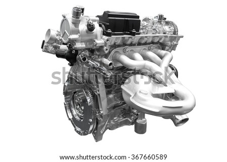 Powerful Car engine isolated on white background with clipping path - stock photo