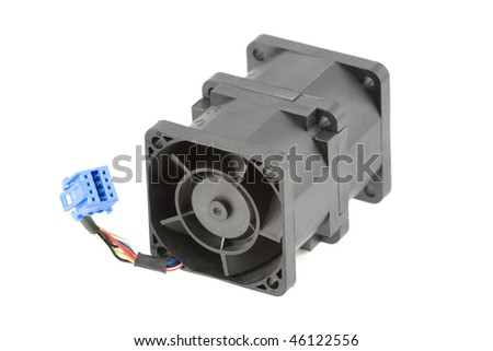 Powerful cooling fan using two rotors for better airflow. Isolated over white.