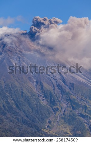 Powerful Day Explosion Of Tungurahua, Is An Active Strato Volcano Located In The Cordillera Oriental Of Ecuador  - stock photo