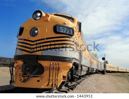 Powerful diesel locomotives once ruled the rails - stock photo