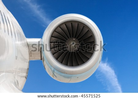 Powerful engine of the modern aircraft - stock photo