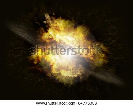 Powerful explosion blast on black background with debris - stock photo