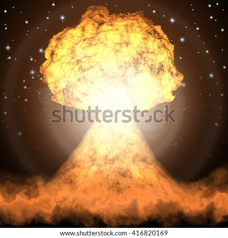 Powerful explosion of nuclear bomb. Nuclear war. Radioactive nuclear explosion. - stock photo