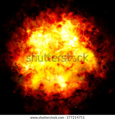 Powerful explosion on black background. A high resolution.