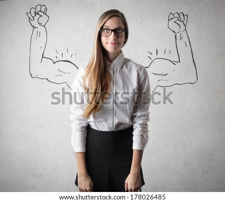 powerful girl - stock photo