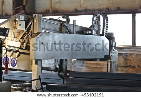 powerful industrial band saw for cutting of long rolled metal