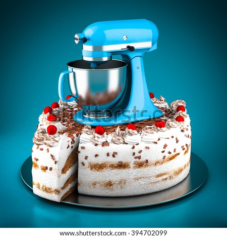 Powerful kitchen mixer on a blue background - stock photo