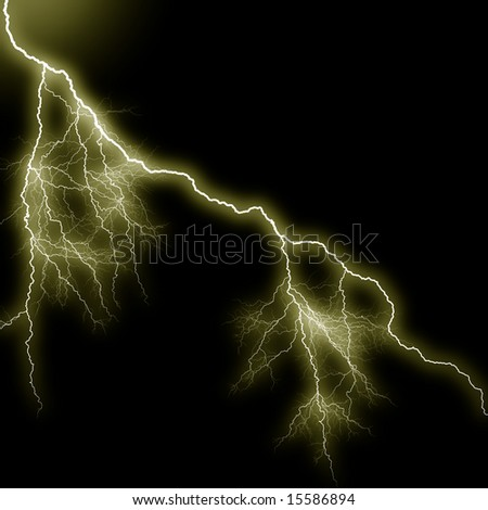 Powerful lightning discharge against the black background. Illustration.