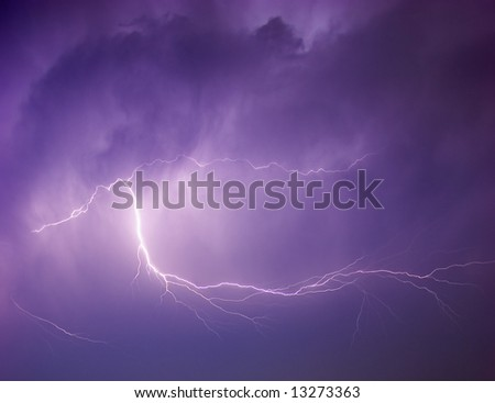 Powerful lightning strike