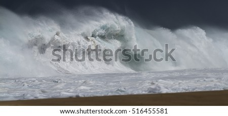 Powerful Ocean Waves forty feet high hit the north shore of Oahu. April '13