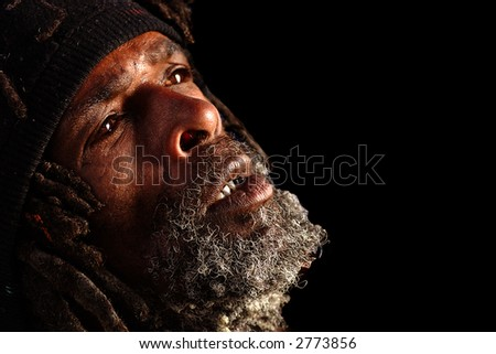 Powerful Portrait Of a Black Homeless man - stock photo