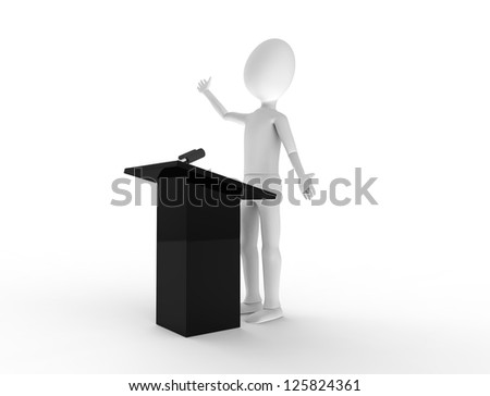 Powerful public speaking at a podium - stock photo