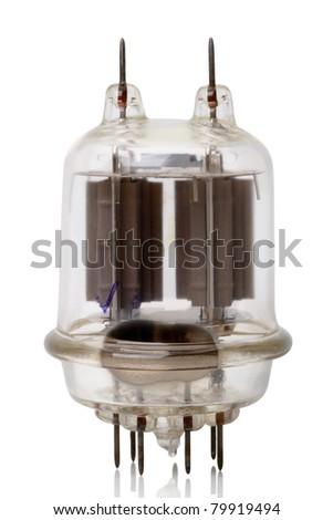 Powerful radio amplifying tube (GU-29). Isolated on white background - stock photo
