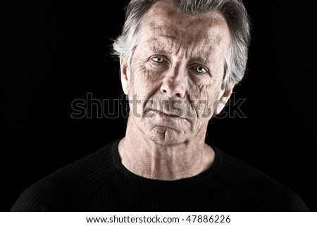 Powerful Shot of a Worried Senior Male - stock photo