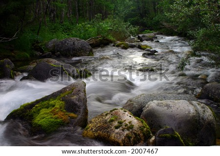 Powerful stream in mountains