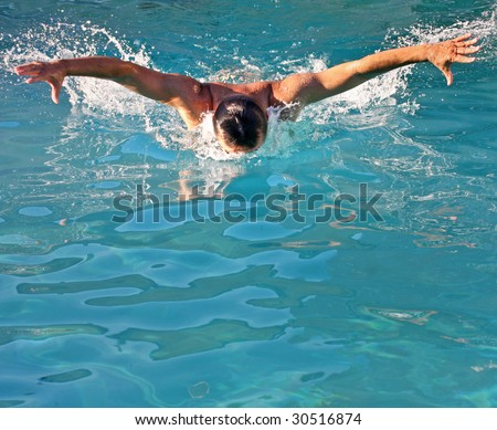 Powerful swimming butterfly style stroke
