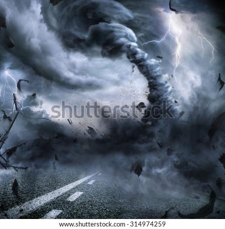 Powerful Tornado - Dramatic Destruction - stock photo