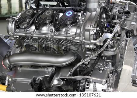 powerful v6 car engine new technology - stock photo