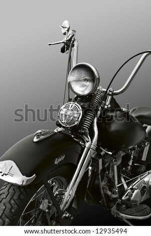 Powerful vintage motorcycle with clipping path - stock photo