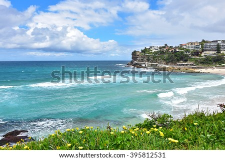 Powerful waves of Tasman sea hitting the beaches along coastal walk from Bondi to Coogee, Sydney, Australia.
