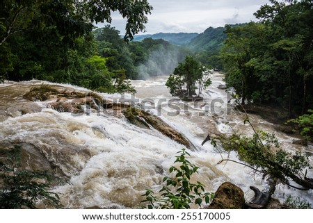 Powerfull landscape of a river in motion after a big rain. Traveling America, Mexico. - stock photo