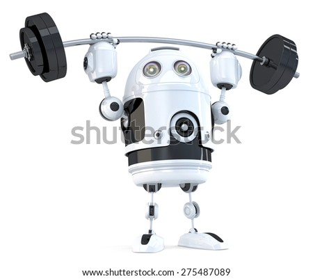 Powerfull Robot. Technology concept. Isolated on white. Contains clipping path. - stock photo