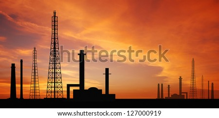 Powerhouse plants sunset background energy electricity engineer industry factory for design - stock photo