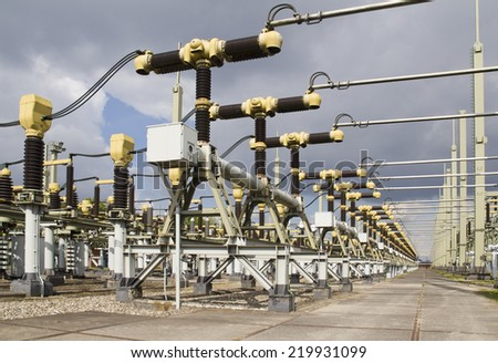 Powerplant with turbines in Holland - stock photo
