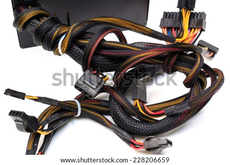 powersupply electronic on white background. - stock photo