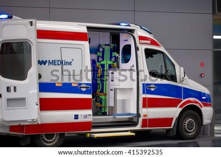 POZNAN, POLAND - APRIL 12. 2016: Ambulance car on Poznan International Fair SALMED 2016, Poland. - stock photo