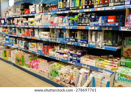 POZNAN, POLAND - APRIL 29, 2015: Cosmetic products for sale in a Biedronka supermarket - stock photo