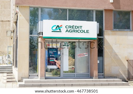 POZNAN, POLAND - AUGUST 11, 2016: Entrance to a Credit Agricole bank in the city center