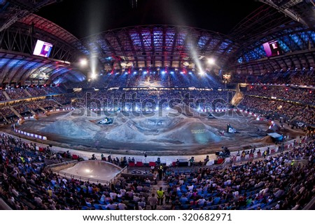 POZNAN, POLAND - AUGUST 6: Inea Stadium at FMX (Freestyle Motocross) competition at Red Bull X-Fighters 2011.