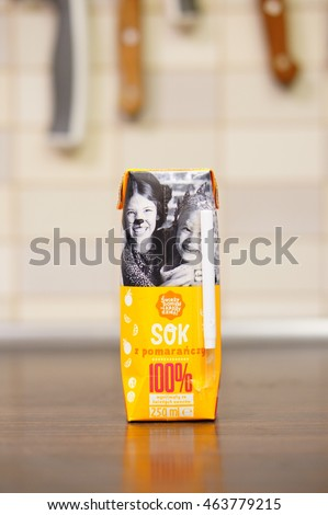 POZNAN, POLAND - AUGUST 04, 2016: Lidl brand orange juice in a pack standing on table