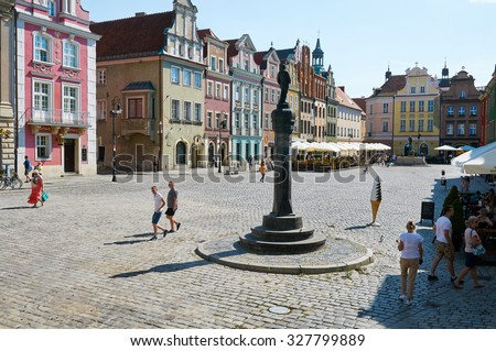 POZNAN, POLAND - AUGUST 20, 2015: Old Market Square at the city center, Stary Rynek - stock photo