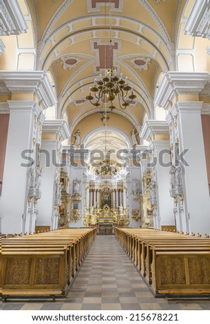 POZNAN, POLAND - AUGUST 04, 2014: The interior of the church of the Franciscans on august 04, 2014. Poznan. Poland