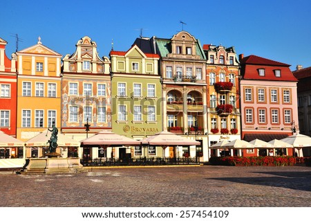 POZNAN, POLAND - AUGUST 3: View of colorful houses at the main square of Poznan city centre on August 3, 2014. Poznan is one of the largest city of Poland.