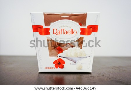 POZNAN, POLAND - DECEMBER 01, 2013: Ferrerro Raffaello in a box standing on table