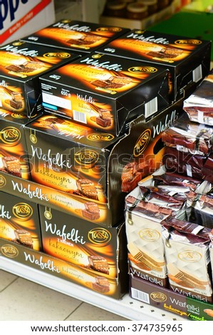 POZNAN, POLAND - DECEMBER 07, 2013: Packed wafers for sale in a Biedronka supermarket - stock photo