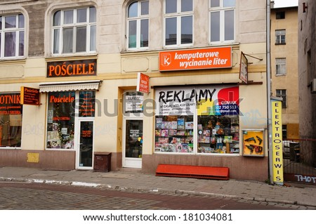 POZNAN, POLAND - DECEMBER 28, 2013: Printing office at the center of the city