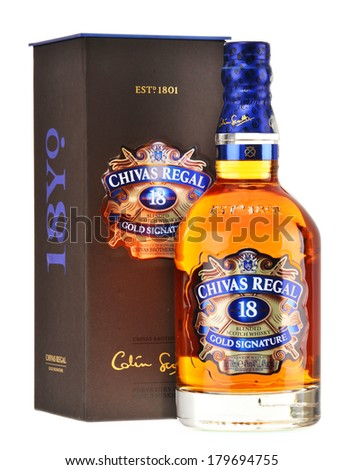 POZNAN, POLAND - FEBRUARY 27, 2014: Blended from whiskies matured for at least 18 years, Chivas Regal 18 Gold Signature is a blended Scotch whisky produced by Chivas Brothers in Keith, Scotland