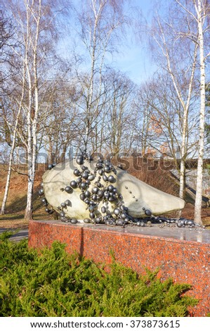POZNAN, POLAND - FEBRUARY 07, 2016: Sculpture at the Citadel park on a sunny day - stock photo