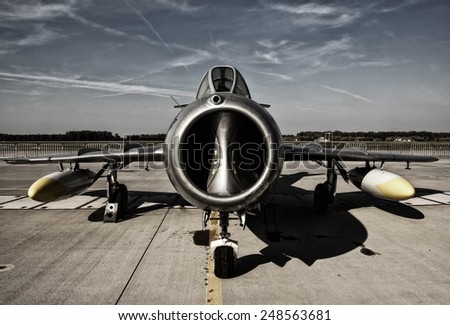 POZNAN, POLAND - JULY 11, 2014: The Mikoyan-Gurevich MiG-15 Fagot is a jet fighter aircraft developed by Mikoyan-Gurevich OKB for the Soviet Union - stock photo