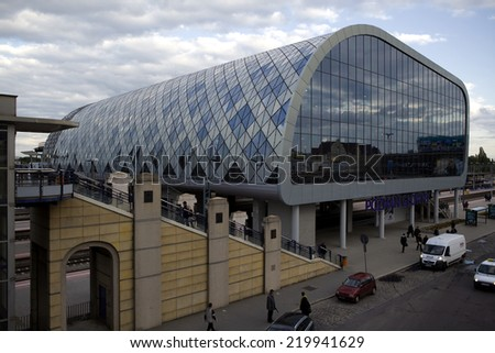 POZNAN, POLAND - JUNE 18, 2012: New railway station in Poznan. Built on uefa euro 2012.The building is integrated with the court of bus and commercial gallery.