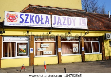 POZNAN, POLAND - MARCH 30, 2014: Exterior of an driving license school in the city center