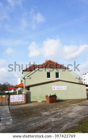 POZNAN, POLAND - MARCH 19, 2016: Green building of a Kindergarten at the Stare Zegrze area