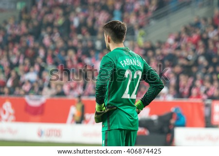 POZNAN, POLAND - MARCH 23, 2016: Lukasz Fabianski (Poland) during the friendly football match between Poland and Serbia at the Inea Stadium in Poznan. - stock photo