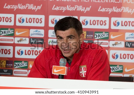 POZNAN, POLAND - MARCH 23, 2016: Manager Radovan Curcic (Serbia) during press conference after friendly football match beetween Poland and Serbia. - stock photo